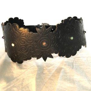 Valentino Black Leather Semi Precious Stones Belt